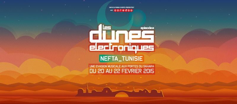 Affiche du festival des dunes electroniques 2015 Nefta Tunisie