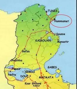 Position de Hammamet sur la carte de la Tunisie voyage