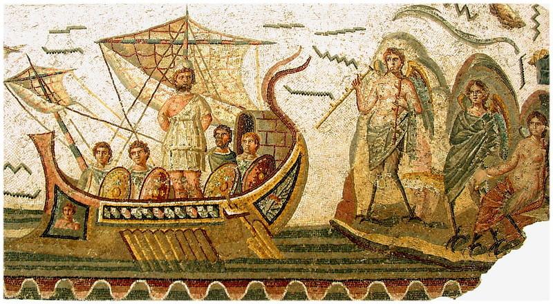 Mosaïque d'Ulysse et les sirènes exposée au musée du Bardo en Tunisie