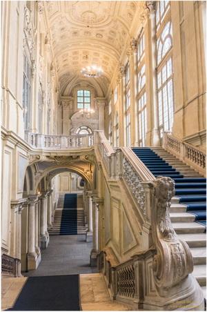 Palais Madame, Turin, Italie, Escalier baroque